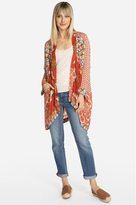 $199 • Buy 💕NWT! Johnny Was Red DOLCE Floral Scarf Print KIMONO Jacket Cardigan L $275 💕