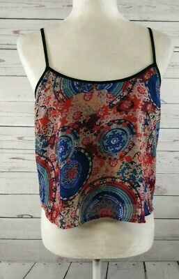 $10 • Buy Sans Souci Womens Top Sz M Colorful Boho Print Spaghetti Strap Sheer Cropped