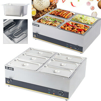 £109.95 • Buy 4/6 Pots Wet Well Bain Marie Catering Electric Food Heat Warmer Stainless Steel