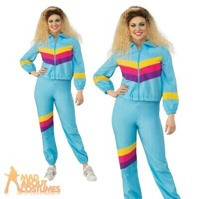 Adult Ladies 80s Shell Suit Costume Scouser Tracksuit Womens Fancy Dress Outfit • 15.99£