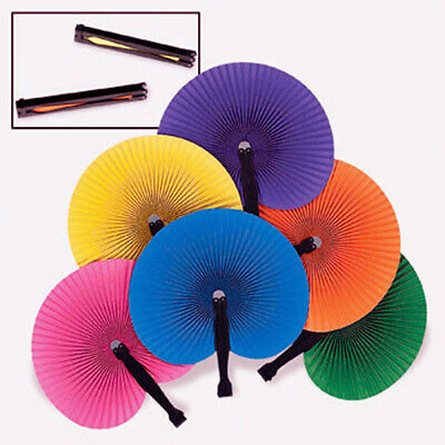 24-120 Colorful Folding Fans Luau Party Wedding Favor Paper Hand Solid Color Lot • 17.91£