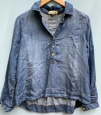 $ CDN35.78 • Buy Anthropologie Top XS Cloth And Stone Popover Shirt Blue Chambray Blouse 0 2