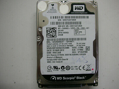 AU16.67 • Buy WD Scorpio Black 250gb WD2500BEKT-75PVMT1 2060-771692-006 Rev A 2,5   SATA