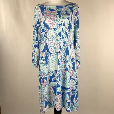 $40 • Buy Lilly Pulitzer Women Blue White Pink Sea Shell Print Sophie Dress Sz L