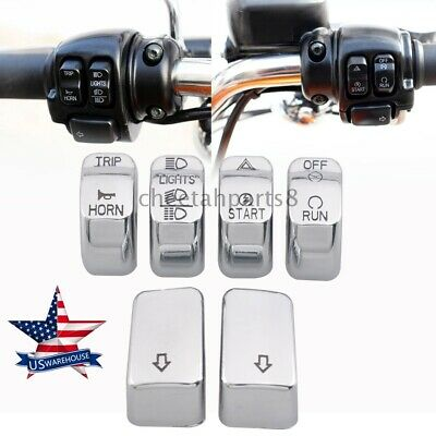 $12.06 • Buy 6PCS ABS Plastic Chrome Switch Cap Kit Handle Parts For Harley 2014-later XL USA
