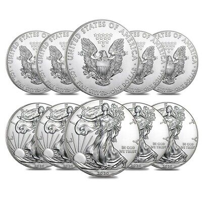 View Details Lot Of 10 - 2020 1 Oz Silver American Eagle $1 Coin BU • 292.43$