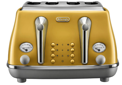AU159 • Buy Delonghi CTOC4003Y Icona Capitals 4 Slice Toaster With Bagel Setting - NY Yellow