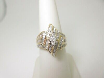 $749 • Buy Vintage 18k Solid Gold 1.15 Ctw Natural Diamond Cocktail Ring | Size 7  R904