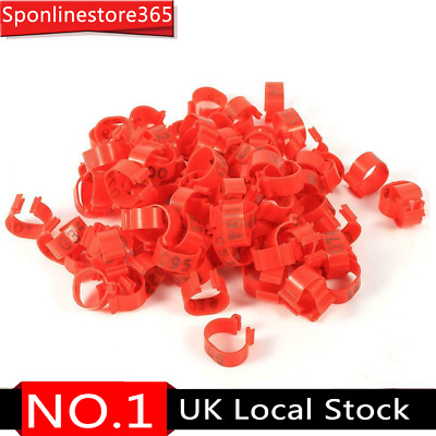 100PCS/Bag 16MM 001-100 Numbered Plastic Poultry Chickens Leg Band Rings(Red) • 6.42£