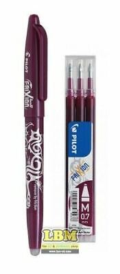 £6.99 • Buy Pilot FriXion BALL 07 Erasable Rollerball Pen WINE RED Ink + Refill Pack