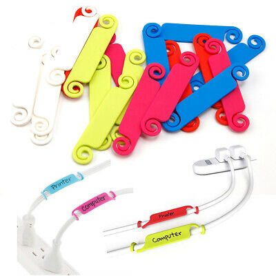 20 Plastic Cable Organizer Wire Labelling Holder Tie Tidy Tags Home Office Cord • 5.99£