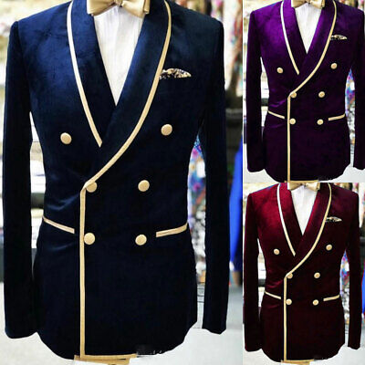 $ CDN84.18 • Buy Prom Party Blazer Men's Double-breasted Velvet Suits Dinner Groom Wedding Tuxedo