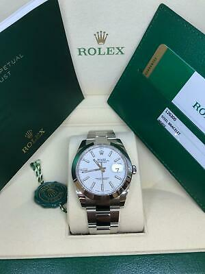 $ CDN11036.29 • Buy New Rolex 126300 41mm Datejust Oyster Band White Index Steel Smooth Bezel