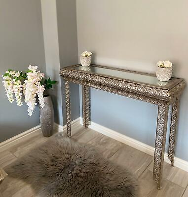 £139.95 • Buy Metallic Silver Moroccan Embossed Metal Glass Console Side Hall Table (gz420)