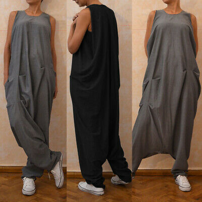 UK STOCK Women Oversize Sleeveless Long Jumpsuit Playsuit Overalls Harem Pants • 9.99£