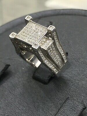 £39.90 • Buy Solid Genuine 925 Sterling Silver Men's Pinky Ring CZ Stone Design - NEW