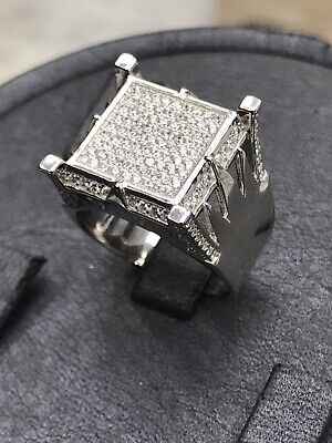 £37.50 • Buy Solid Genuine 925 Sterling Silver Solid Square Mens Pinky Ring ALL SIZE NEW