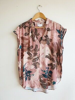 AU35 • Buy WITCHERY Ladies Pink Floral Blouse Top Size 14 Exc Con
