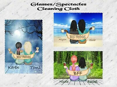 Personalised Two Best Friends Glasses Cleaning Cloth Moonlight Beach Woods • 2.75£