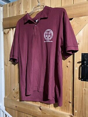 """VW Camper Van Polo T Shirt Burgundy Berry Red Size L Chest 40"""" Size 16 Type 2 .. • 10£"""