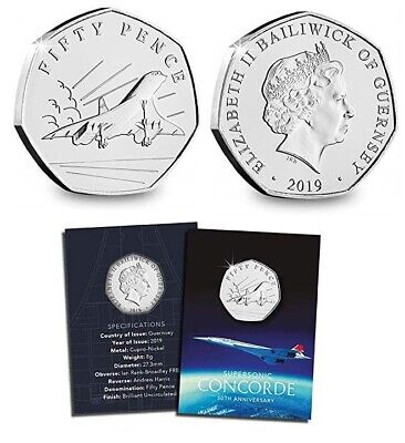 50th Anniversary Of Concorde 2019 50 Pence Bailiwick Of Guernsey 50p BU New  • 9.99£