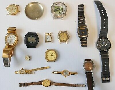 $ CDN15 • Buy Lot Of 14  Mixed Watches, Some Mechanical And Some Quartz- 1 Swiss Case Back
