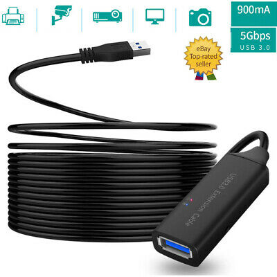 AU31.01 • Buy Active USB 3.0 Extension Cable Cord 5M 10M 15M A Male To A Female For PC Laptop
