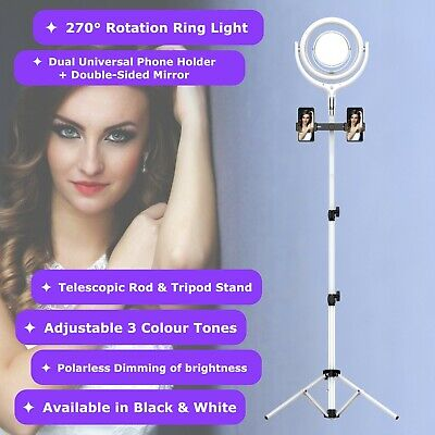 AU80.71 • Buy NEWAVE 6000K Polarless Dimmable Swivel 12'' LED Ring Light Mirrors 170cm Stand