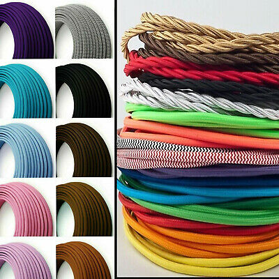 2 Core Braided Fabric Cable Lighting Lamp Flex Vintage - Choice Of Colours • 3.14£