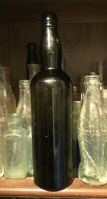 $4.99 • Buy BLACK GLASS TURN MOLD WHISKEY BOTTLE APPLIED TOP 1800s OLIVE GREEN