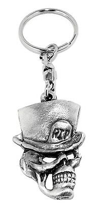R.I.P Skull Top Hat Gothic Pewter Keyring In Black Organza Gift Pouch • 5.95£