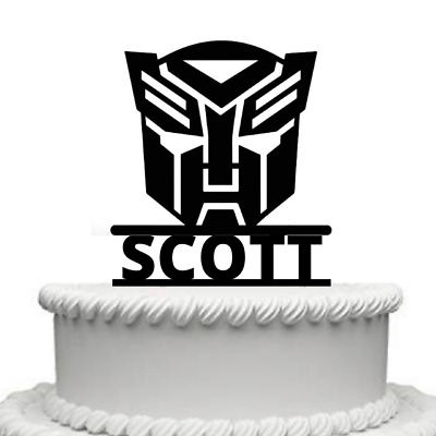 Personalised Transformers Mask High Gloss Acrylic Cake Topper Any Name • 9.99£