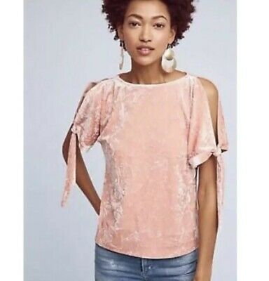 $ CDN45.07 • Buy Anthropologie Maeve Medium Crushed Velvet Blouse Top Pink Peach Cold Shoulder