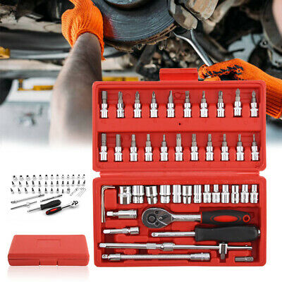 46Pc Drive Socket Set 1/4  Wrench Torx Ratchet Driver Screwdriver Bit Extension • 9.19£