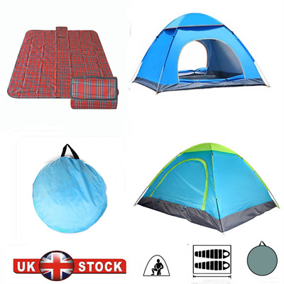 £21.99 • Buy 2-4 Man Pop Up Instant Tent Festival Camping Hiking Beach Picnic Tent / Blanket