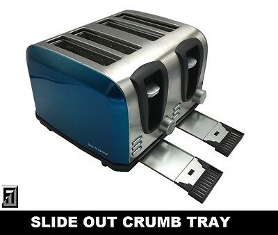 AU64.97 • Buy 2/4 Slice Glossy BLUE Bread Crumpet English Muffin Toaster FULL Stainless Steel