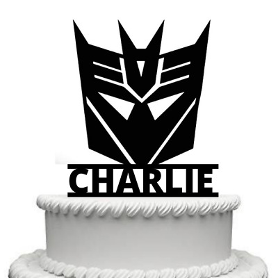 Personalised Transformers Decepticon Mask Gloss Acrylic Cake Topper Any Name • 9.99£