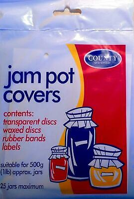 Jam Pot Covers For 25 X 500g (1lb) Jars - With Rubber Bands And Labels • 3.50£
