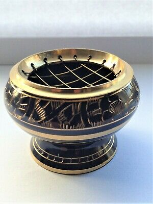 BLACK BRASS INCENSE RESIN BOWL - Incense Burner With Detachable Wire Lid • 7.75£