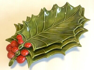 $ CDN27.23 • Buy Vintage Holland Mold Christmas Holly Leaf Berries Candy Nut Dish Set Of 3 1960s