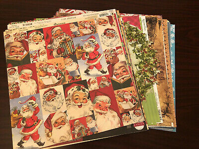 $6.50 • Buy 12x12 Christmas Scrapbook Paper Single And Double Sided Lot Of 48 Total Pieces