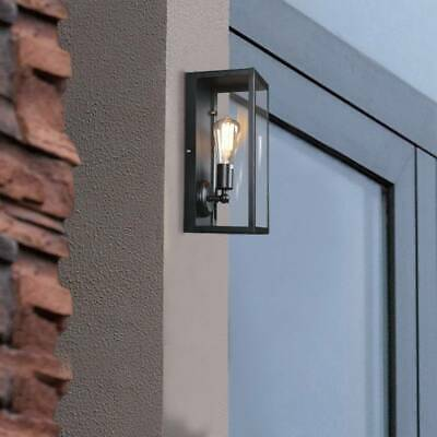 Rectangular Outdoor Wall Light Metal & Glass Lantern Garden Wall Lamp Holder • 20.99£