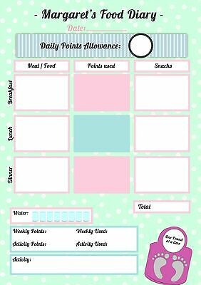 Weight Watchers Compatible Personalised MAGNETIC FOOD DIARY Wipeable+FREE Pen!!  • 4.99£