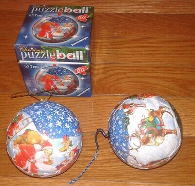 $17.95 • Buy (2) Ravensburger 60 Piece Puzzle Ball Christmas Ornaments - Excellent Condition