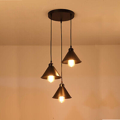 Cluster 3 Way Ceiling Light Pendant Shade Industrial Bar Hanging Lights Fitting • 42.97£