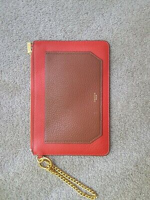 AU0.99 • Buy Oroton Duo Medium Chain Pouch In Red Leather With Gold Hardware. RRP $129