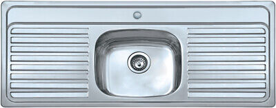 Single Bowl Sink Double Drainer 1 Tap Hole (for 2x Tap Hole Message On Purchase) • 169.99£