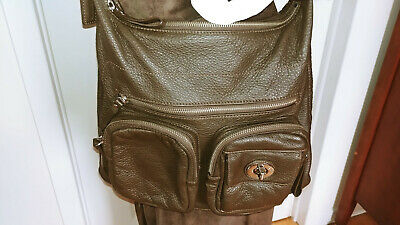 $ CDN50 • Buy DANIER Brown Pebbled Soft Leather Handbag Crossbody Shoulder Clutch Purse Bag