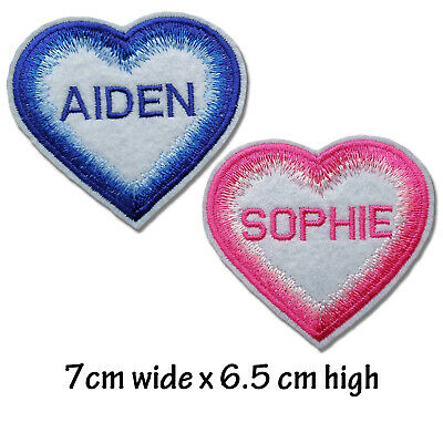 Personalised Embroidered Heart Shape Name Patch Badge Multicoloured Border  • 4.20£
