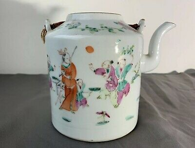 $15.50 • Buy Gorgeous Antique 1900s Chinese Porcelain Teapot With Hand Painted Enamel Scenery